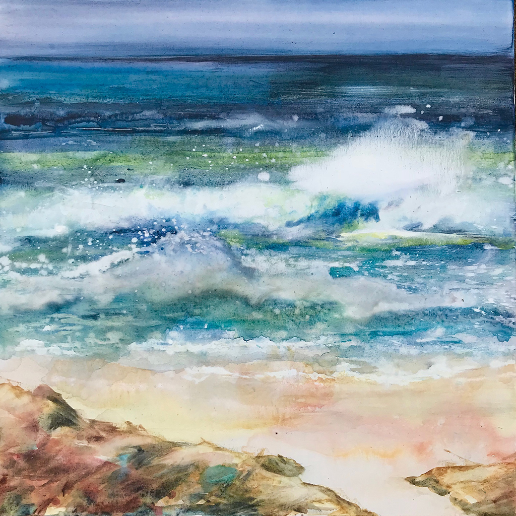 Swell,  Watercolour on Canvas,  61cm x 61cm  SOLD