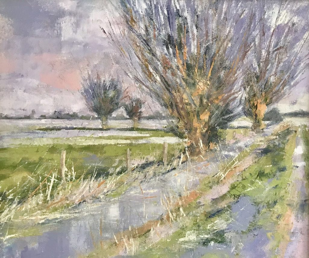 Ham Moor Flood,  Oil,  42cm x 38cm