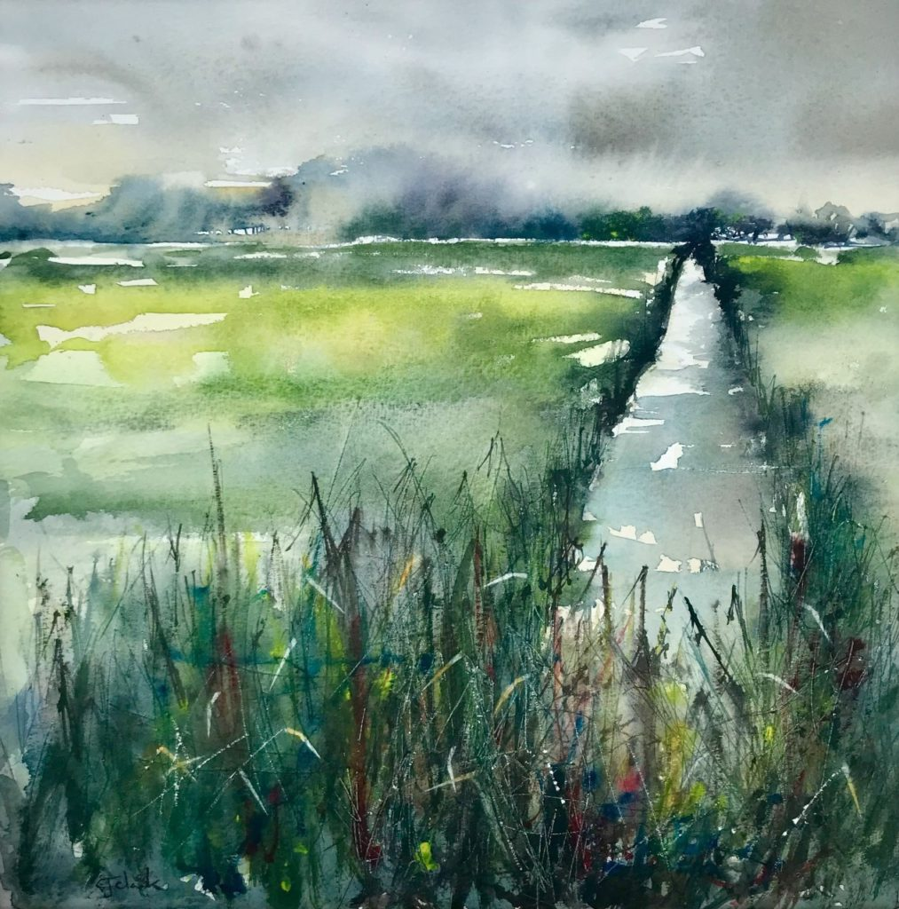 Water & Light on the Moor,  Watercolour,  59cm x 59cm