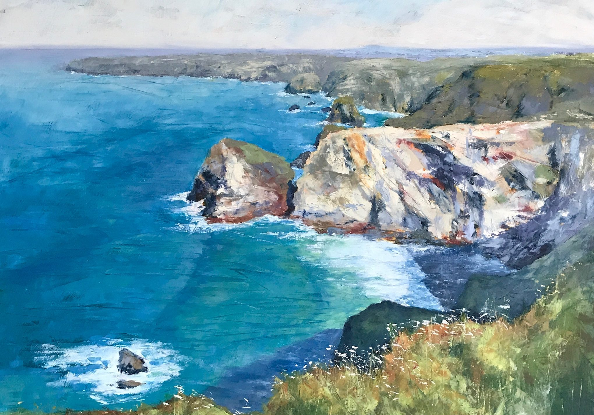 Bedruthan Sun,  Oil & Cold Wax,  74cm x 74cm  SOLD